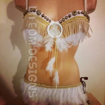 White and gold Native American inspired rave OUTFIT
