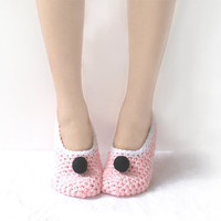 Pink Crochet Slippers with Black Felted Embellishment