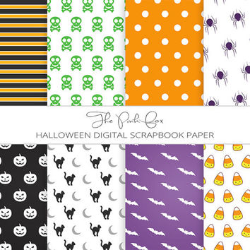 Digital Paper Halloween - Holiday Scrapbooking - DIY Wrapping Paper - Orange Black Paper - Jack o Lantern Paper - Printable Craft Paper