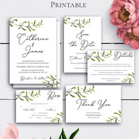 Rustic Greenery Wedding Sets, Wedding Invitation Suite, Green Leaves, Response Card, Modern Wedding, Greenery Suite, Rustic Wedding