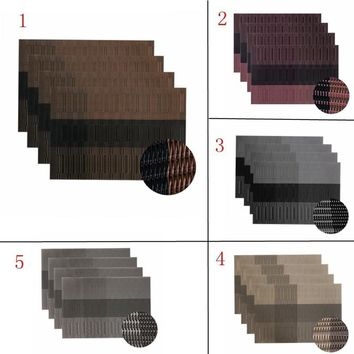 Leegoal Set of 4 ,Exquisite PVC Placemats Woven Vinyl Place Mats for Table Heat-Resistant Brown Mats