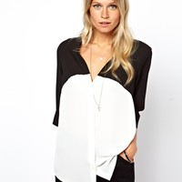 ASOS Blouse With V-Neck In Mono Colourblock at asos.com