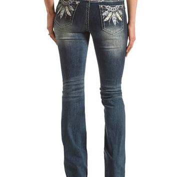 Grace in LA Women's Blue Feather Embroidered Jeans - Boot Cut