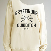 Harry Potter Quidditch Shirt Gryffindor Shirt Harry Potter Sweater Shirt Off Shoulder Women Sweater Women Sweatshirt Long Sleeve Women Shirt
