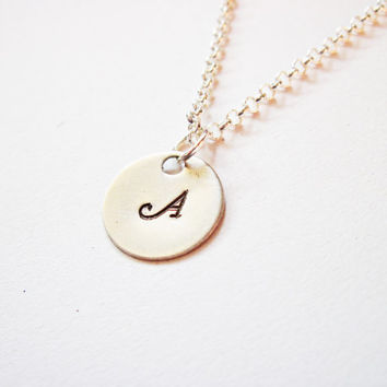 Initial Necklace. personalized necklace, one disc Sterling Silver necklace, engraved necklace, hand stamped necklace, handstamped charm