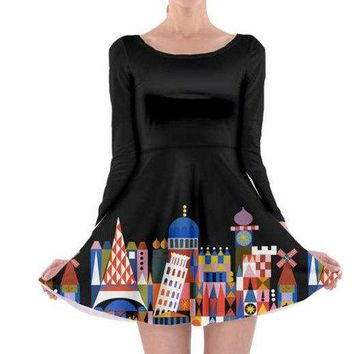 Adult It's A Small World Inspired Long Sleeve Skater Dress