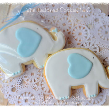 Elephant Baby Shower Shortbread Sugar Cookie Favors Blue and Gray