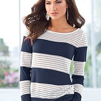 Navy & White (NVWH) Laser Cut Stripe Top
