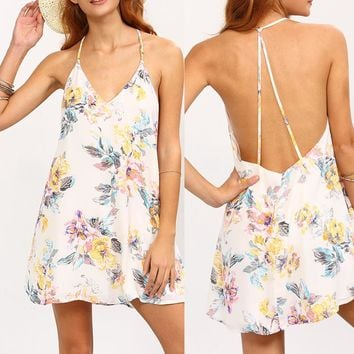 cathy Flower Print Mini Dress