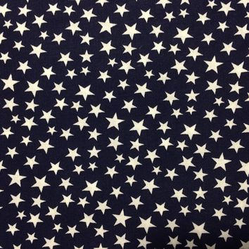 """White Stars on Navy~ Patriotic Stars Material~ 43/44"""" 100% Cotton- Fabric by the yard"""