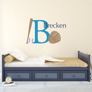 Baseball Decal Set with Ball, Bat & Glove - Boys Name and Initial Wall Decal - Boy Bedroom Wall Decor - Baseball Decor - Large