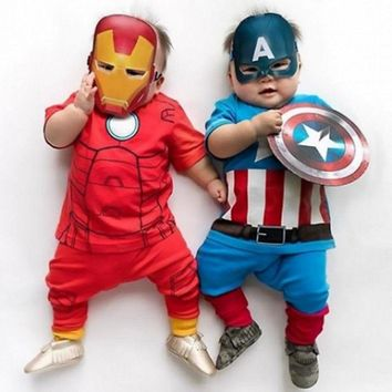 new halloween summer infant cosplay costume Newborn Baby Boy Iron man Captain America Tops Pants Outfits kids Clothes Set