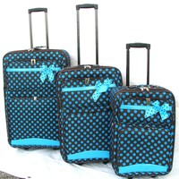 3PC BROWN W/ BLUE POLKA DOT  WHEELED EXPANDABLE LUGGAGE / SUIT CASE / W CARRY ON