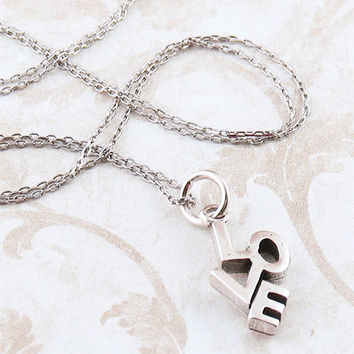 Love Word Necklace with Block Letters in Sterling Silver