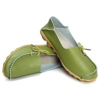 Big Size Pure Color Soft Leather Lace Up Loafers