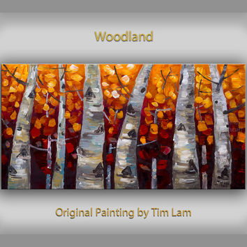 Original art Abstract Painting large Oil Painting, aspen tree art fall Landscape Painting Red Forest by tim lam 48x24x1.3