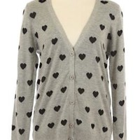 Platonic Love Heart Print Cardigan in Gray | Sincerely Sweet Boutique