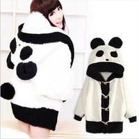White cute panda Fashion Coat