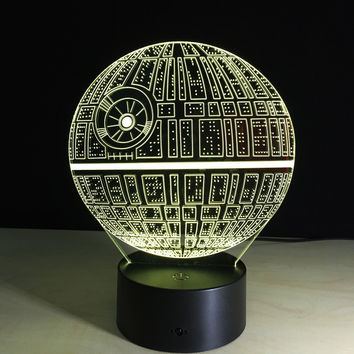 Star Wars Death 3D LED Night Light Touch Switch Table Lamp USB 7 Color Room Decor Colorful LED Lighting for Child Gift IY803327
