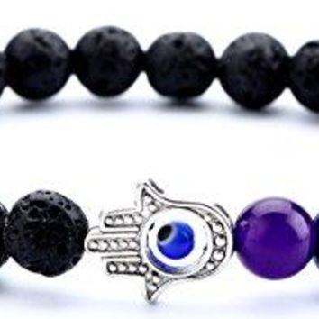Hamoery Men Women 8mm Lava Rock 7 Chakra Essential Oil Diffuser Bracelet Elastic Natural Stone Yoga Beads Bracelet Bangle21001
