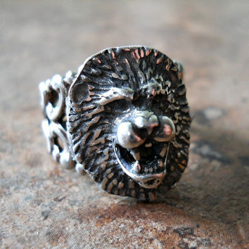 Lion Head Gothic Steampunk Ring in Antiqued by EnchantedLockets