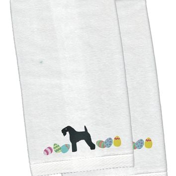 Kerry Blue Terrier Easter White Embroidered Plush Hand Towel Set of 2 CK1659KTEMB
