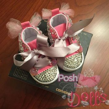 ONETOW posh princess couture bling converse infant booties