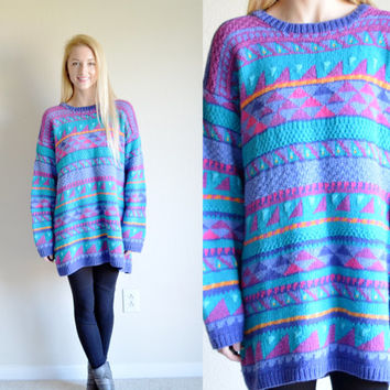 Vintage LL Bean Colorful Tribal Sweater Retro Aztec Hipster Sweater Oversize Retro Hip Hop Pullover Blue Purple Patterned Bohemian Large Lg