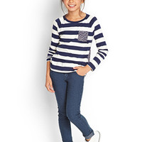 FOREVER 21 GIRLS Striped Floral Knit Top (Kids) Navy/Cream