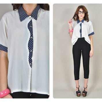 1980s sheer white chiffon navy POLKA DOT collar sleeves oversized draped blouse geek VINTAGE
