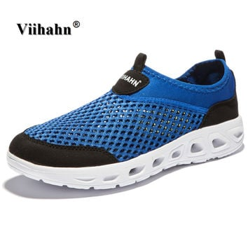 Viihahn 2017 Men Casual Shoes Summer Breathable Mesh Zapatillas For man Super Light Flats Shoes, Foot Wrapping Man Shoes