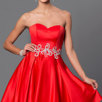 Strapless Fit and Flare Dress with Jewel Detailing