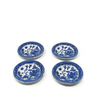 """Occupied Japan Blue Transferware, Flo Blue, Ironstone Child's 3"""" Toy Plates / Made in Occupied Japan Blue Willow Toy Plates"""