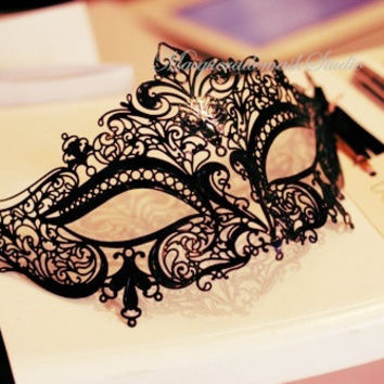 Filigree Laser cut Black Masquerade Mask - Luxury Venetian Mask Filigree Metal Mask Collection