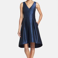 Women's Alfred Sung Satin High/Low Fit & Flare Dress ,