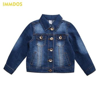 Trendy IMMDOS Girls Denim Jackets 2018 Fashion Spring Denim Jacket Long Sleeve Boys Outwear Children Clothing Baby Autumn New Blouse AT_94_13