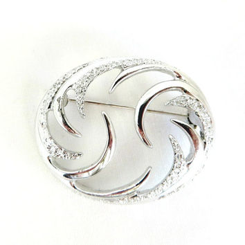 Vintage Sarah Coventry Brooch, Silver Tone Brooch, Oval Swirl Pin