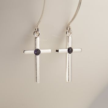 Birthstone Cross Earrings