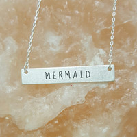 Mermaid Message  Bar Necklace in Matte Silver