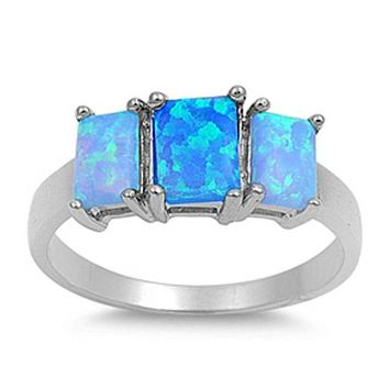 Triple Rectangle Blue Lab Opal Set in Sterling Silver Band