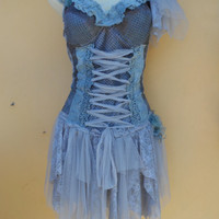 """20%OFF pixie inspired grey cotton bustier top..,,small to 38"""" bust..."""