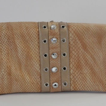 Vintage 80s Handbag / Gold Snakeskin And Rhinestone Clutch / Convertible Shoulder Bag /  Rocker Glam / 80s Fashion