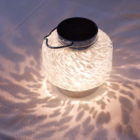 Solar - SOLAR HAND-BLOWN GLASS BOATERS LANTERN-WHITE SQUARE
