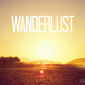 Wanderlust Print, Beach Photography, Boho Wall Art, Gold, Sunrise, Motivational Quote, Ocean, Spain, Travel Art, Sunset, Bohemian Home Decor