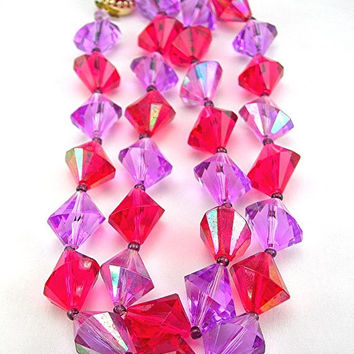 "Faceted Lucite Beads Necklace in Lavender and Fuchsia Colors - 24"" Long - West Germany - Vintage Mid-century Necklace - Fashion Jewelry"
