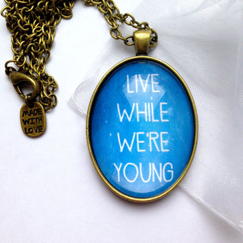 "One Direction ""Live While We're Young"" Themed Necklace - With Blue Nebula Background And Made With Love Charm"
