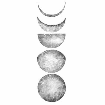 Five Lunar Phases - Moon Watercolor Painting by Marisa Redondo Archival Print