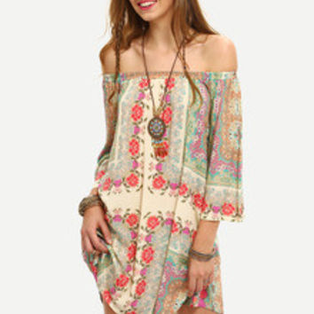 Summer multicolor Off The Shoulder Shift Boho Dress