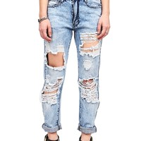 Acid Wreckage Boyfriend Jeans | Trendy Jeans at Pinkice