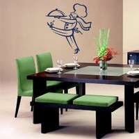 Housewares Wall Vinyl Decal Server Cook Man with Tray Food Kitchen Cafe Interior Home Art Decor Kids Nursery Removable Stylish Sticker Mural Unique Design for Any Room